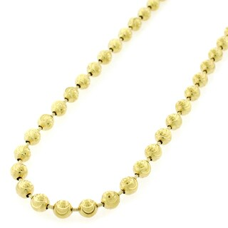 "10k Yellow Gold 5mm Moon Cut Ball Bead Solid Necklace Chain 24"" - 36"""