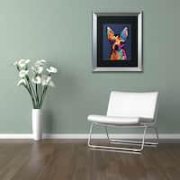 Michael Tompsett 'Chihuahua Dog Blue' Matted Framed Art
