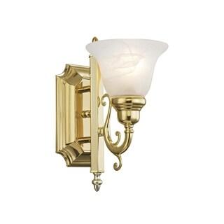 Livex Lighting French Regency Polished Brass Steel and Alabaster Glass One-light Bath Light