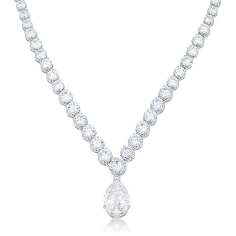 Kate Bissett Bejeweled Silver Brass Cubic Zirconia Pear Drop Necklace
