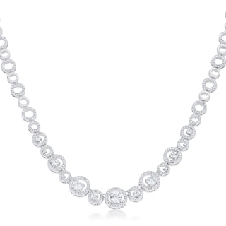 Kate Bissett White Brass Graduated Cubic Zirconia Necklace