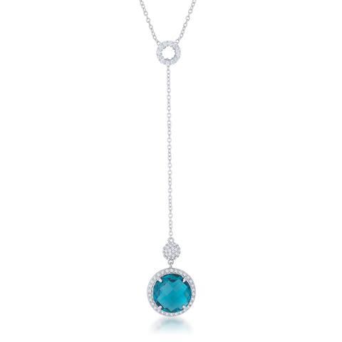 Kate Bissett White Brass 10.9-carat Aqua CZ Rhodium 16-inch Classic Drop Lori Lariat Necklace