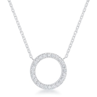 Kate Bissett Clara 0.3 Carat CZ Rhodium Stainless Steel Circle Necklace