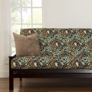 Pressed Leaf Spa Blue and Green Futon Cover