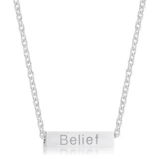 Kate Bissett Luck Rhodium Stainless Steel Bar Script Necklace