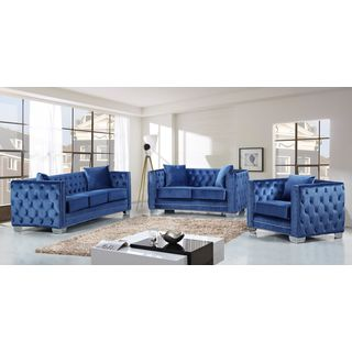 Meridian Reese Light Blue Velvet 3-piece Furniture Set