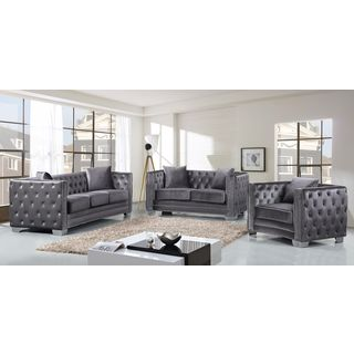 Meridian Reese Grey Velvet 3-piece Furniture Set