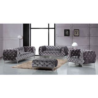 Meridian Mercer Grey Velvet 4-piece Furniture Set