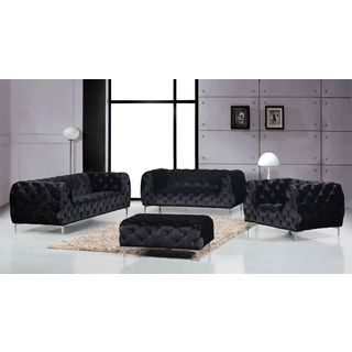 Meridian Mercer Black Velvet 4-piece Furniture Set