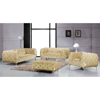 Meridian Mercer Beige Velvet 4-piece Furniture Set