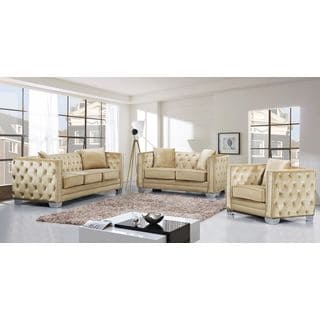 Meridian Reese Beige Velvet 3-piece Furniture Set