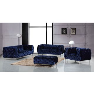 Meridian Mercer Navy Velvet 4-piece Furniture Set