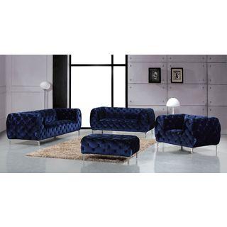 Meridian Mercer Navy Velvet 4-piece Furniture Set