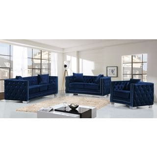 Meridian Reese Navy Velvet 3-piece Furniture Set