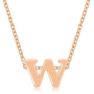 Kate Bissett Rose Gold Brass Initial W Pendant