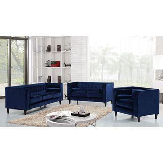 Meridian Taylor Navy Velvet 3-piece Furniture Set