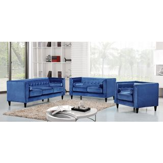 Meridian Taylor Light Blue Velvet 3-piece Furniture Set