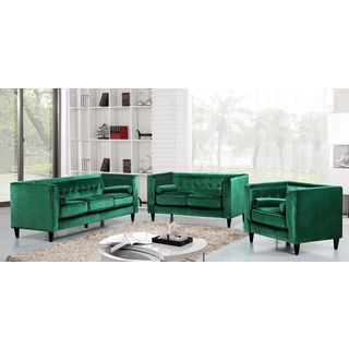 Meridian Taylor Green Velvet 3-piece Furniture Set