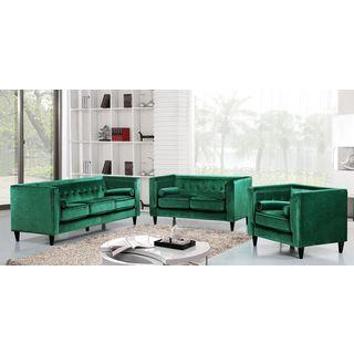 Meridian Taylor Green Velvet 3-piece Furniture Set