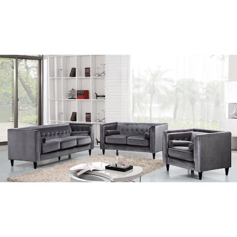Meridian Taylor Grey Velvet 3-piece Furniture Set