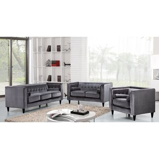 Meridian Taylor Grey Velvet 3-piece Furniture Set