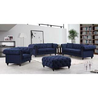 Meridian Chesterfield Navy Linen 4-piece Furniture Set