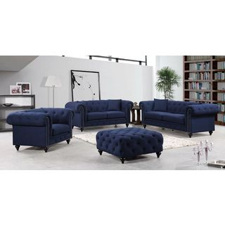 Meridian Chesterfield Navy Linen 4-piece Furniture Set