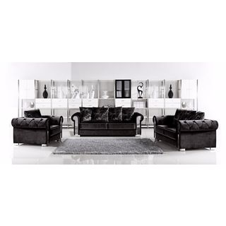 Meridian Electra Black Velvet 3-piece Furniture Set