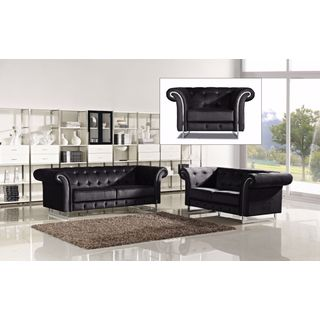 Meridian Porta Black Velvet 3-piece Furniture Set