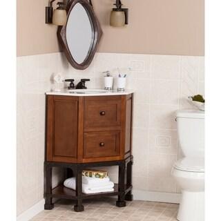 Beautiful Harper Blvd Carmen Marble Top Corner Bath Vanity Sink
