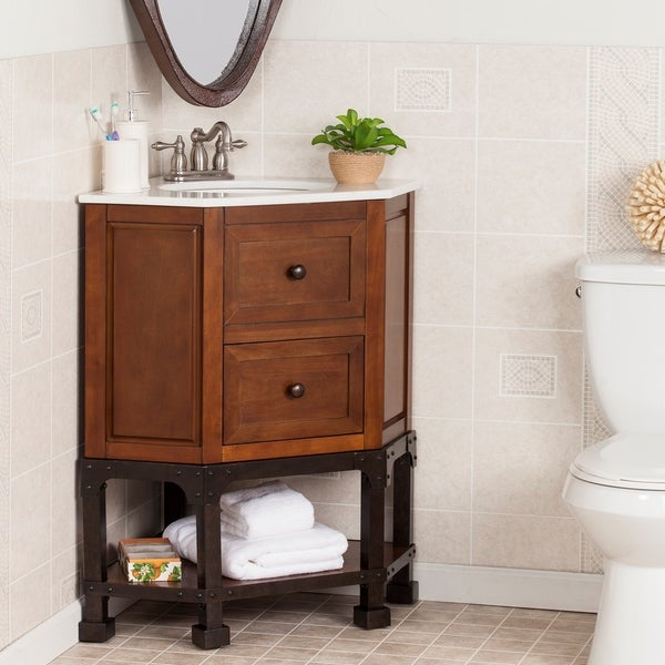 harper blvd carmen marble top corner bath vanity sink free shipping today. Black Bedroom Furniture Sets. Home Design Ideas