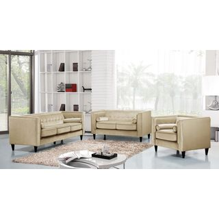 Meridian Taylor Beige Velvet 3-piece Furniture Set