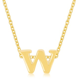 Kate Bissett Brass Initial W Pendant Necklace