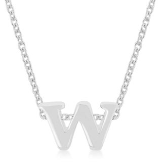 Kate Bissett Silvertone Finish W Initial Pendant with 18-inch Chain