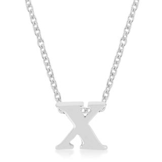 Kate Bissett Silver Brass Initial x Pendant Necklace