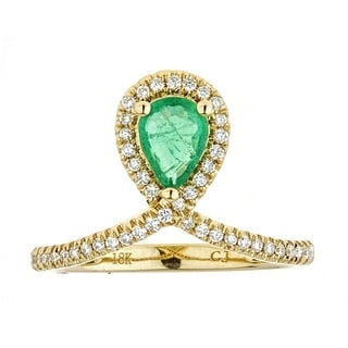 Anika and August 18k Yellow Gold Pear-cut Zambian Emerald and Diamond Ring