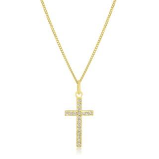 Kate Bissett Golden Brass Cubic Zirconia Simple Cross Pendant