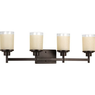 Progress Lighting Alexa Collection Steel and Glass Four-Light Bath Fixture