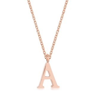 Kate Bissett 18k Rose Gold Finished Stainless Steel Elaina A Initial Necklace with 16-inch Chain
