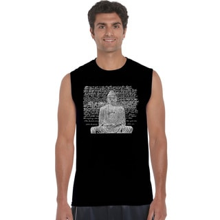 Los Angeles Pop Art Men's Zen Buddha Blue/Black/Grey Cotton Sleeveless T-shirt