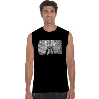 Los Angeles Pop Art Men's Brooklyn Bridge Blue/Black/Grey Cotton Sleeveless T-shirt