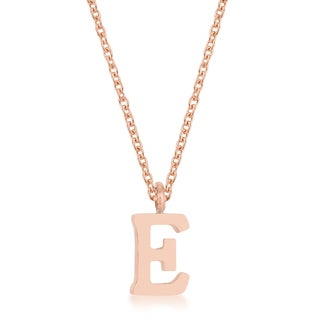 Kate Bissett Stainless Steel Rose Gold 16-inch Elaina E Initial Necklace