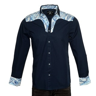Men's Western Fashion 'BLUE SKY WESTERN' Cotton Long-sleeved Woven Shirt Button-up shirt by Rock Roll N Soul