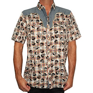 Rock Roll N Soul Men's Short Sleeve 'Plaid of Skulls' Casual Western Button-up Fashion Shirt