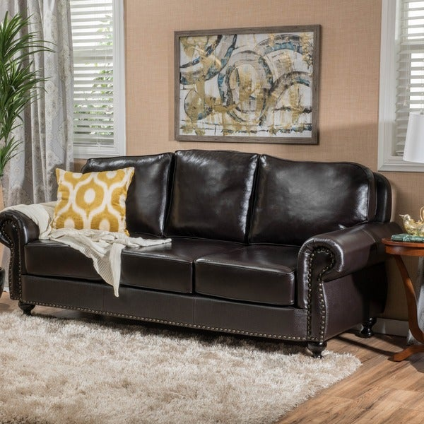 Taro 3 Seat Top Grain Leather Studded Sofa By Christopher Knight Home