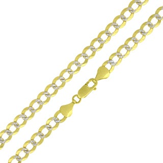 10k Yellow Gold 5.5mm Solid Cuban Curb Link Diamond-cut Pave Chain Necklace