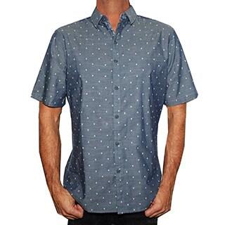 Men's Mini Skull Fashion Short Sleeve Button Down Shirt by Rock Roll n Soul