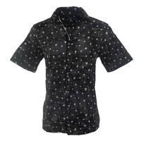 Men's 'Heads are Gonna Roll' Short Sleeve Casual Skull Print Button Up Fashion Cotton Woven Shirt by Rock Roll N Soul