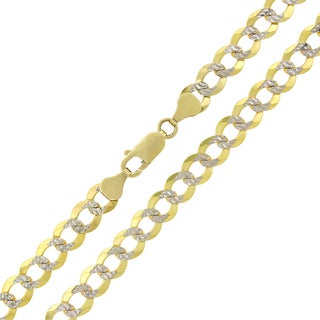 10k Gold 7mm Solid Cuban Curb Link Diamond-cut Pave Chain Necklace