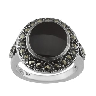 Haven Park Black Onyx and Marcasite Ring